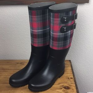 UGG Sabene Red Plaid Rain Boot Shearling Foot 7